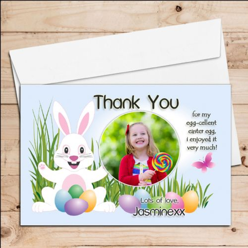 10 Personalised Girls Boys Easter Egg Thank you Photo Post Cards N6